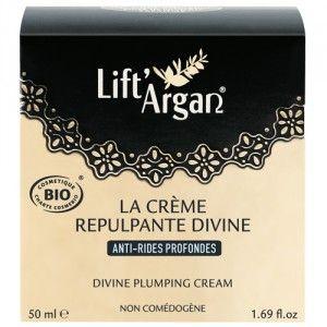 La Crème Repulpante Divine Anti-rides profondes de Lift'Argan est un soin conçu pour les peaux matures.Sa texture velours réconfortante nourrit immédiatement les peaux les plus sèches tout en apportant une double action : comblement des rides et fermeté.