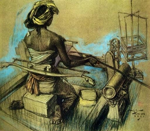 Lee Man Fong(1913ー1988 Indonesia)「BALINESE GIRL WEAVING」 ※Conte pastel on paper