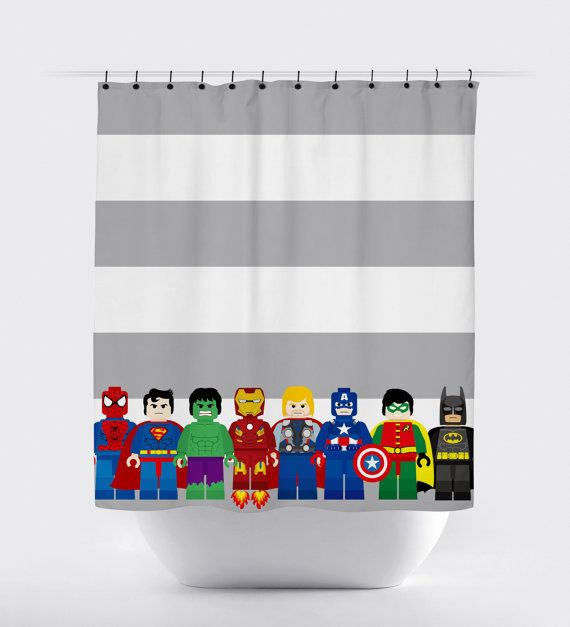 mini block super hero shower curtains superhero by PrintArtShoppe