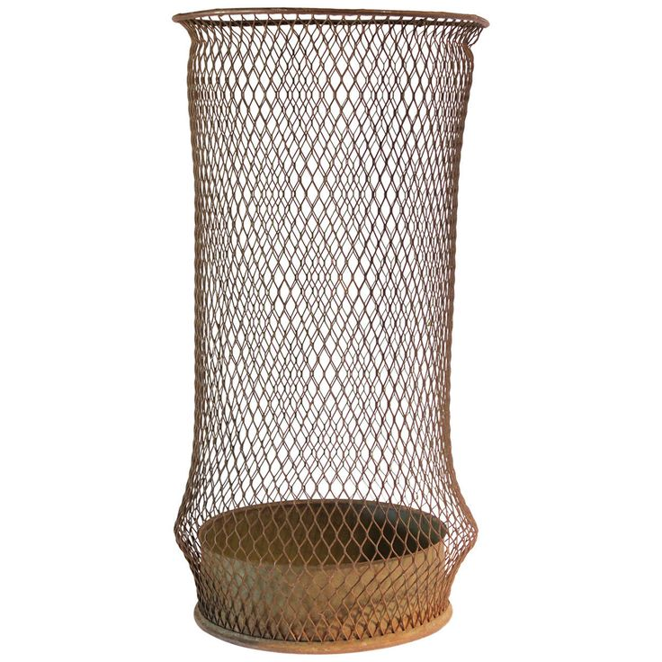 Early 20thy Century Tall American Industrial Waste Basket | From a unique collection of antique and modern bowls and baskets at https://www.1stdibs.com/furniture/decorative-objects/bowls-baskets/