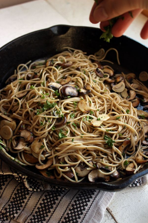 Garlic Mushroom Pasta- Do not let the simplicity of this pasta confuse you, the flavors have fantastic depth. The secret is well browned mus...