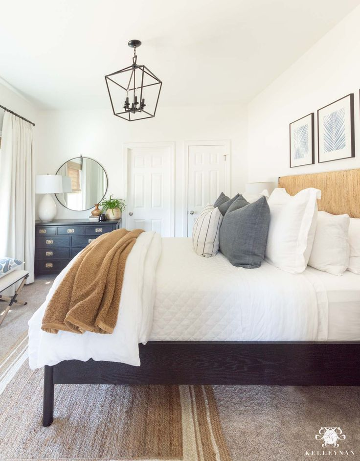 Casual Comfortable Guest Bedroom Makeover Reveal Kelley Nan Bedroom Furniture Layout Small Guest Bedroom Guest Bedroom Makeover Neutral spare bedroom ideas