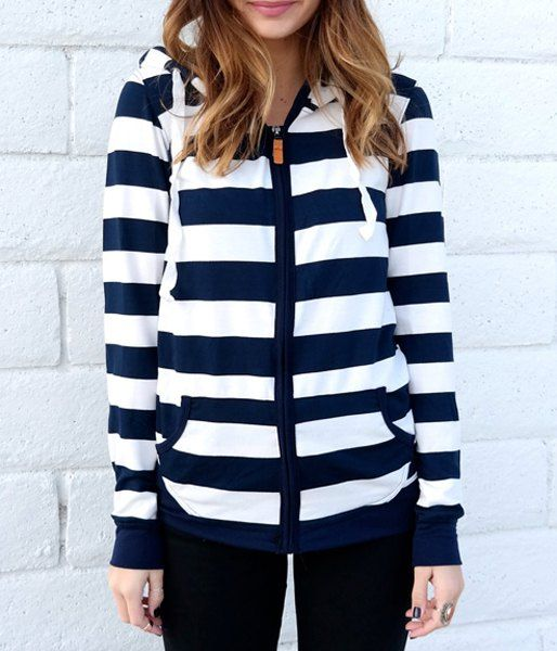 Long Sleeve Zippered Striped Women's Hoodie - BLUE/WHITE S