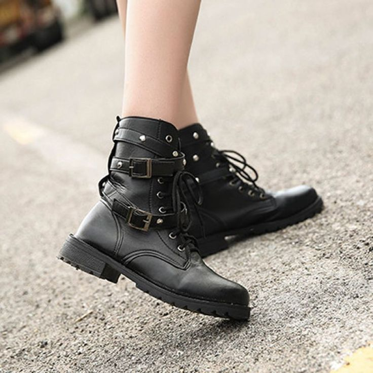 Men And Women Lover Boots Soft Round Toe Martin Boots Trending Rivet Buckle Boots - Gchoic.com #shoes #fashion #boots #popular #discount #cheap #under20 #warm #winter