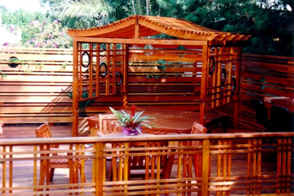 asian inspired railings - the woven railings with large top board.   | Custom deck design, patio and gazebo contractor in Redondo Beach