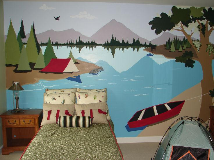 Camping theme kids room by artist leiann klein kids for Childrens mural ideas