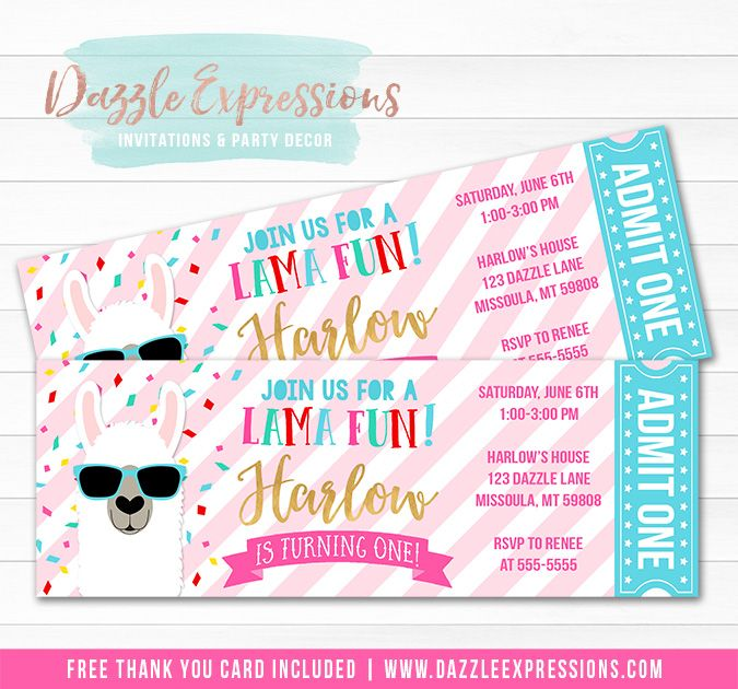 Printable Girls Llama Ticket Birthday Invitation