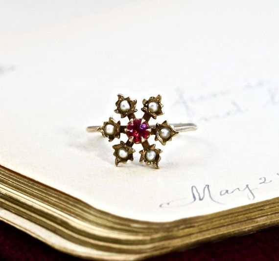 Antique Flower Ring Victorian 10k Synthetic Ruby & Seed Pearl