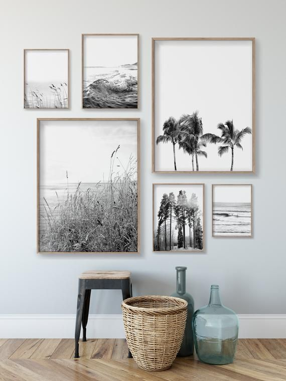 Set Of 6 Black And White Nature Prints Printable Art Coastal Prints Landscape Prints Gallery Wall Digital Download In 2020 Black And White Photo Wall Decor Gallery Wall