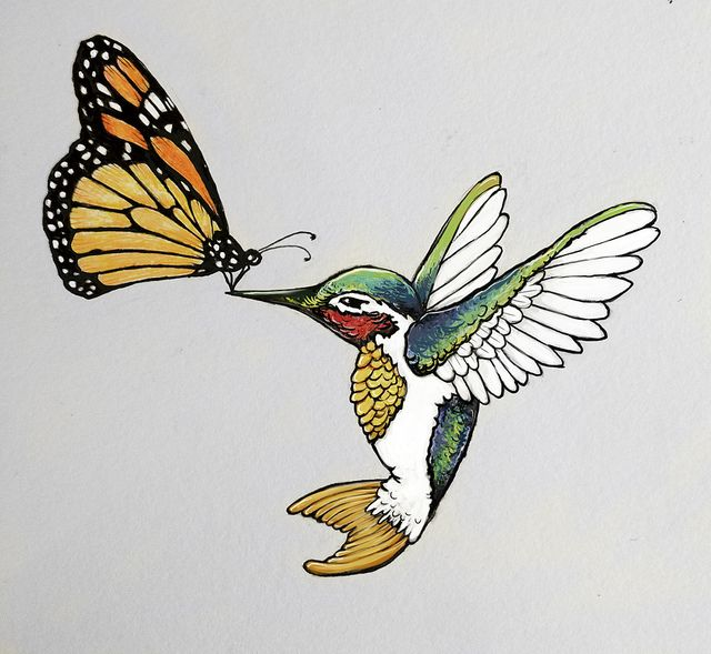 Monarch Butterfly & Hummingbird Tattoo Design by The Cate, via Flickr picture for Grandma and Dad representation