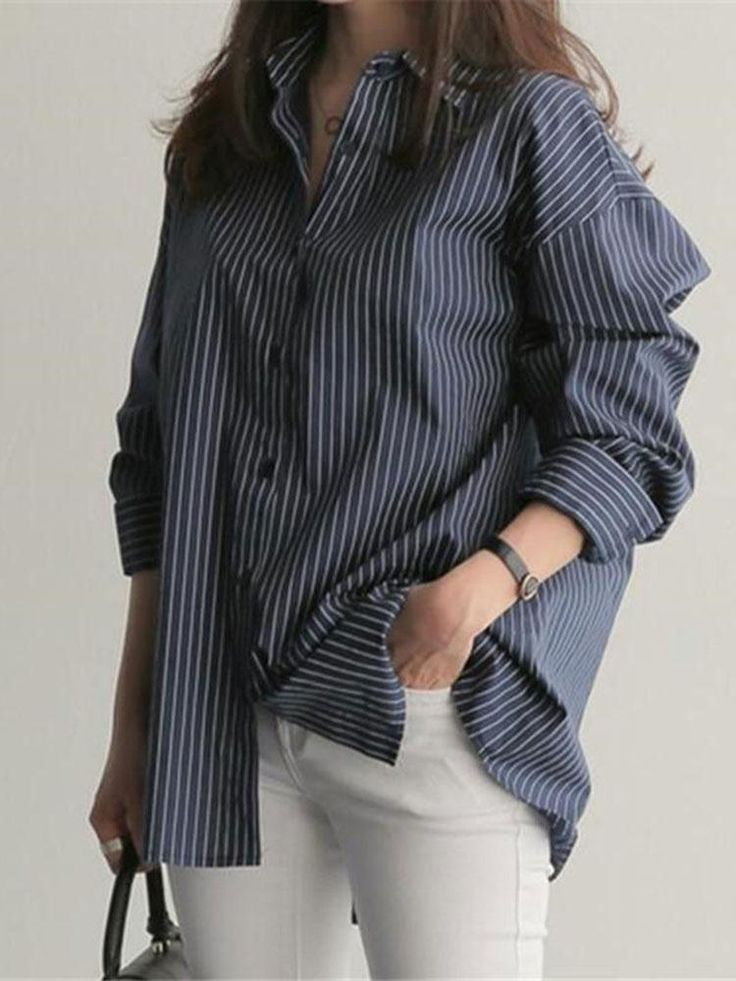 Fashion Loose Show Thin Long Sleeve Strips Shirt blouses for women chic blouses …