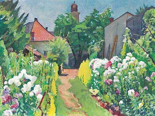 Ziffer, Sándor (1880-1962) The painter\'s flower garden 1948