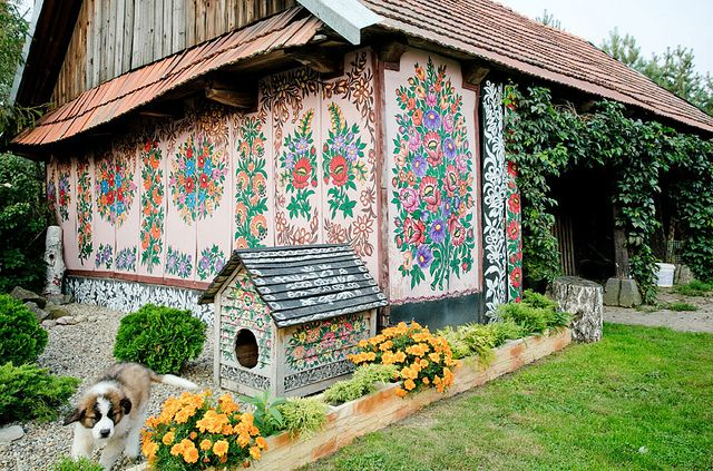 In the secluded Polish village of Zalipie, locals decorate their homes with colorful hand-painted floral designs.