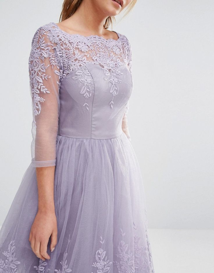Image 3 ofChi Chi London Premium Lace Midi Prom Dress With Sleeve