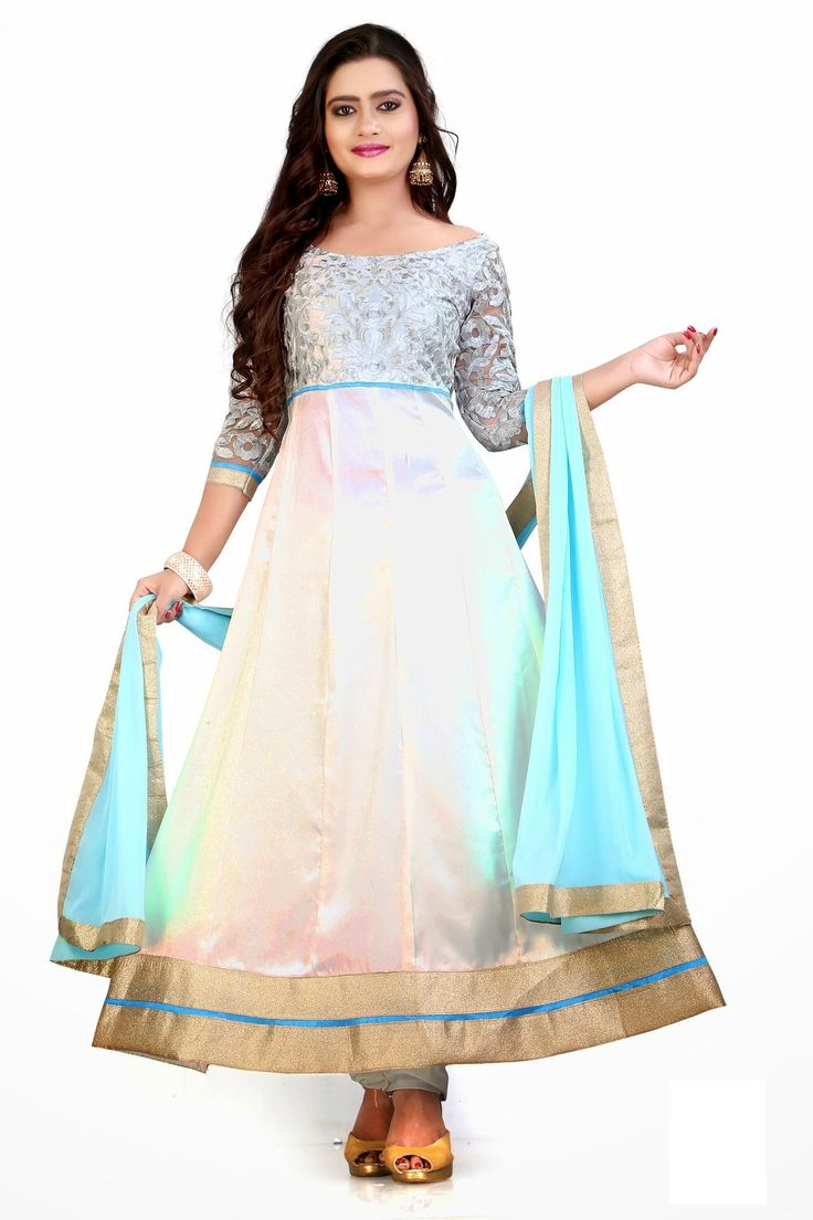 Best Designer Blue White Net Anarkali Suit - Rs. 2799.00