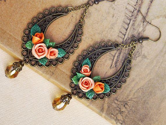 Vintage earrings, flowers earrings, vintage earrings , jewelry , bronze, polymer clay handmade on Etsy, $24.00