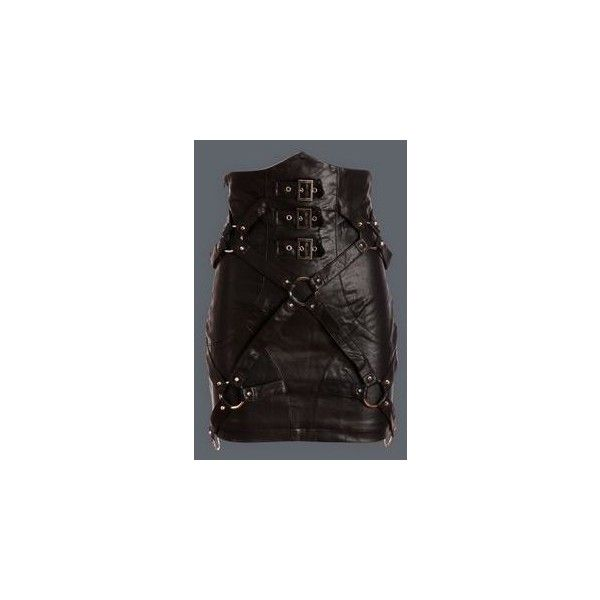 Q-247 PUNK RAVE Asymetryczna Czarna Sukienka Gotycka ❤ liked on Polyvore featuring lace up skirt, long gothic skirts, gothic skirts, goth skirt and long skirts