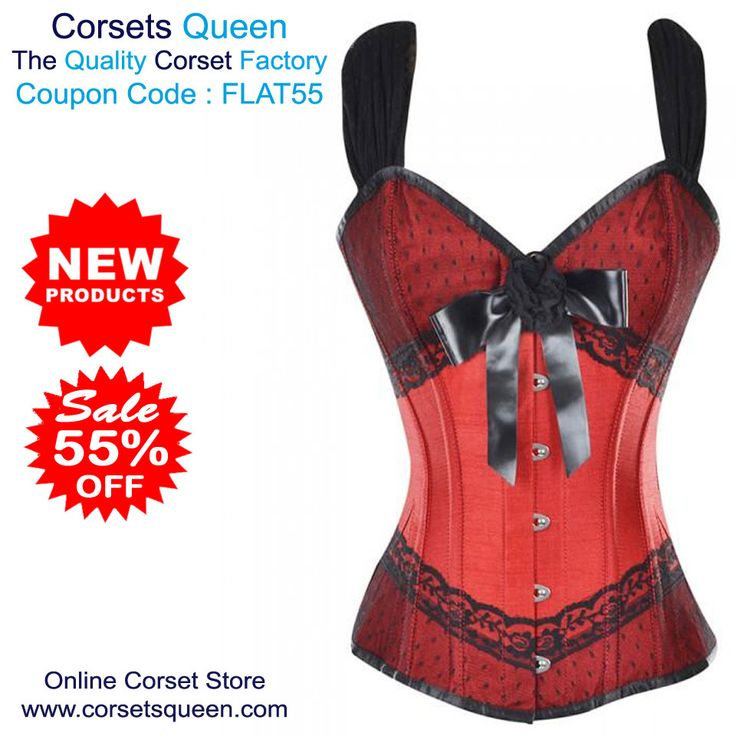 Gylfi Red Corset With Shoulder Straps And Bow Detail, Red and Black Corset Dress Sale, Fancy Corset Dress
