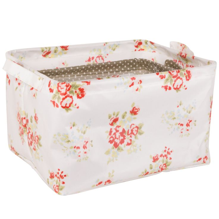 Neoviva Collapsible Storage Baskets for Cosmetic Organization, Set of 3 in Different Sizes and Patterns, Floral Nitong Roses