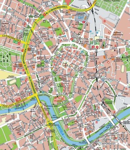 Mapa turístico de Cracovia, Polonia