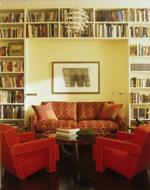 Library/sitting room. Like that a focal point was created inside the shelves.