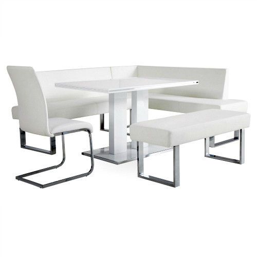 5Piece Kitchen Breakfast Dining Table and Corner Bench Set Modern Furniture Unit #SmartDealsMarket #ModernContemporary
