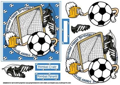 Football and a pint blue on Craftsuprint - Add To Basket!