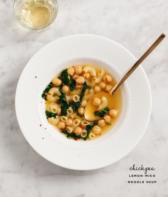 Chickpea lemon-miso noodle soup is a perfect way to beat the end-of-winter blahs.