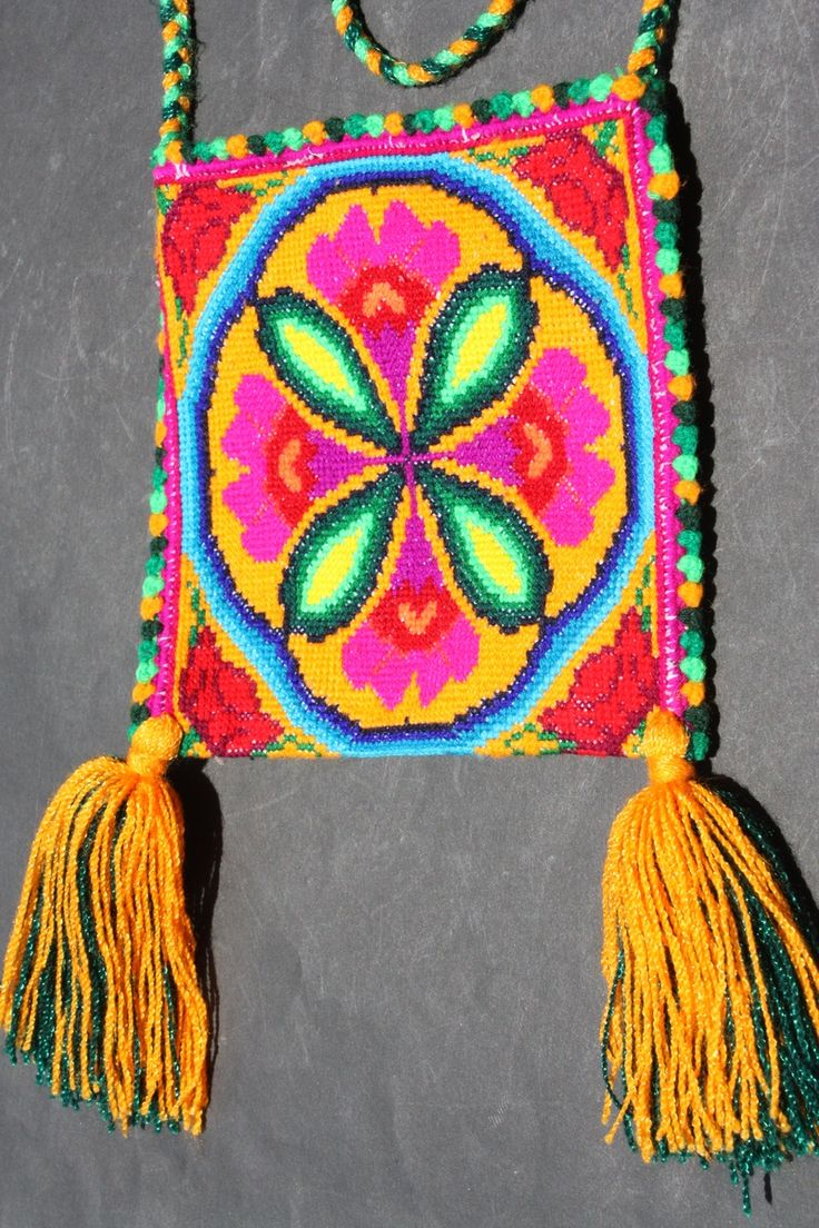 Mexican hand embroidered Huichol Peyote necklace bag
