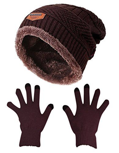 Slouchy Beanie Gloves for Women HINDAWI Winter Hat Knit Warm Skull Cap Touch Screen Mittens Brown