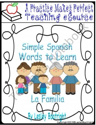 Simple Spanish Words to Learn: La Familia product from Practice-Makes-Perfect on TeachersNotebook.com
