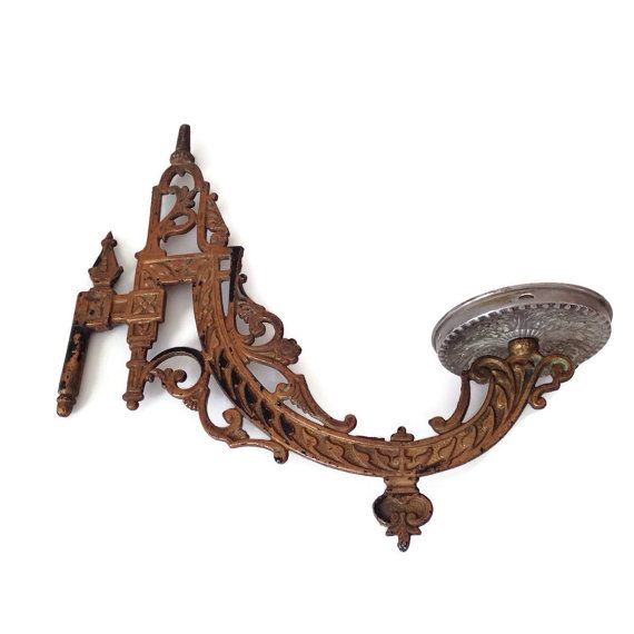 Wall Mount Lamp Holder : Antique Oil Lamp Holder Cast Iron Victorian Wall Mount Wall Sconce Vintage Candle Holder-Home ...