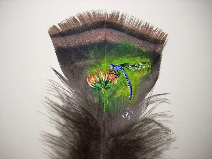 Dragonfly on a turkey feather