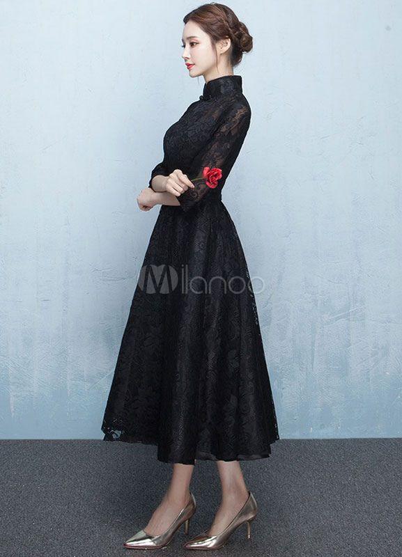 Robe dentelle Prom Robe col Mandarin Half Sleeve Sash A ligne thé longueur Graduation robe mère noire