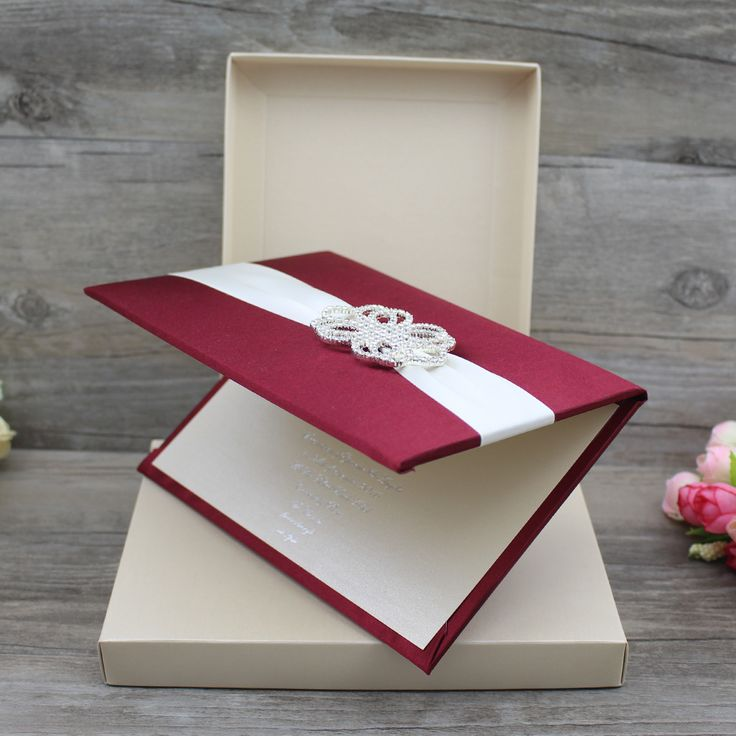 standard size wedding invitation%0A      Luxury Custom Burgundy Silk Folio Wedding Invitation Folder with  Ribbon and Brooch