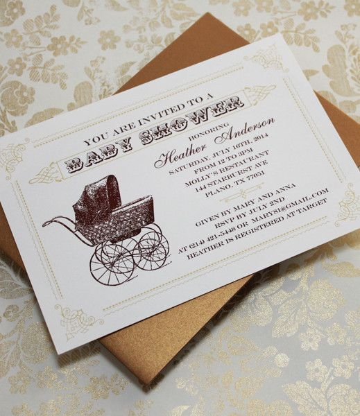 DIY Vintage Buggy Baby Shower Invitation Template From #DownloadandPrint.  Http://www