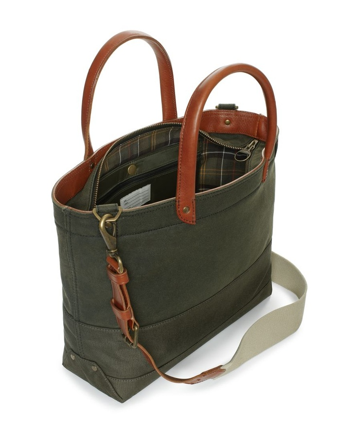 Beautiful fusion of two great brands:    Jack Spade | Barbour Coal Bag
