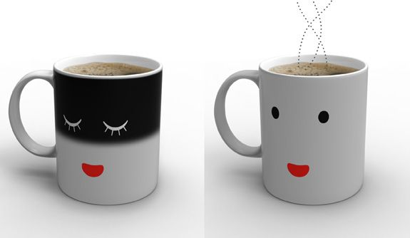 Morning Mug... it wakes up when you pour hot liquid into it.  Precious!