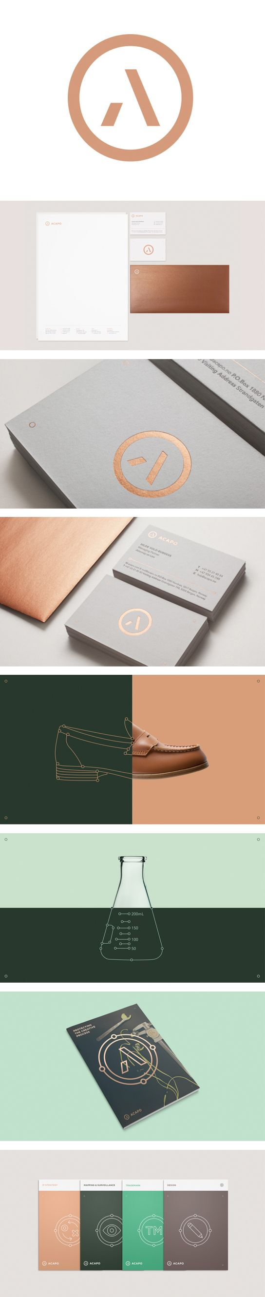 Inspo: Maybe gold & geometric to contrast the muted tones? Acapo, Law Firm | Visual Identity by by Anti