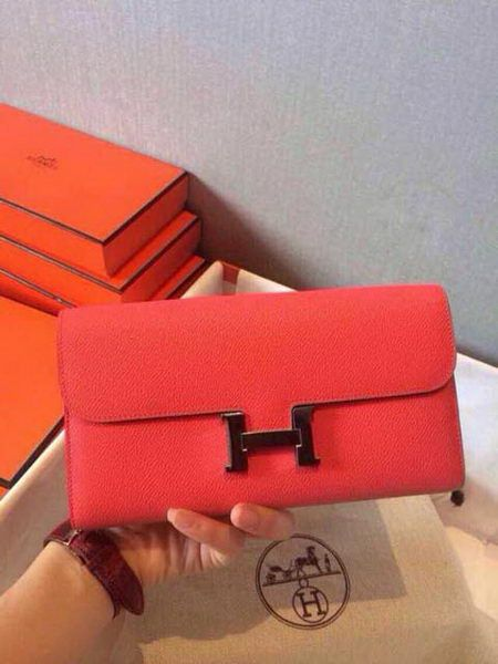 Hermes Constance Long Wallets Original Leather HA909 Light Red