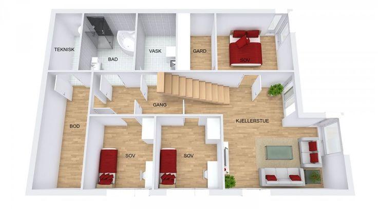Det er 5 soverom, 2 på hovedplanet, 3 i sokkelen. Her har du i tillegg kjellerstue, bad, vaskerom og teknisk rom og bod. Fra kjellerstua er det direkte utgang til hagen.