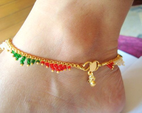 76 11 gold platted traditional payal anklet jewelery pair