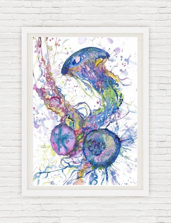 Acuarela de pulpo pintura océano mar pared arte imprimir