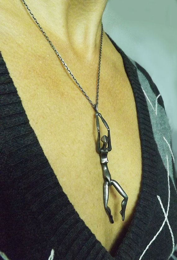 Black Woman Kinetic Pendant Articulated Human Body by BonTonJoyaux