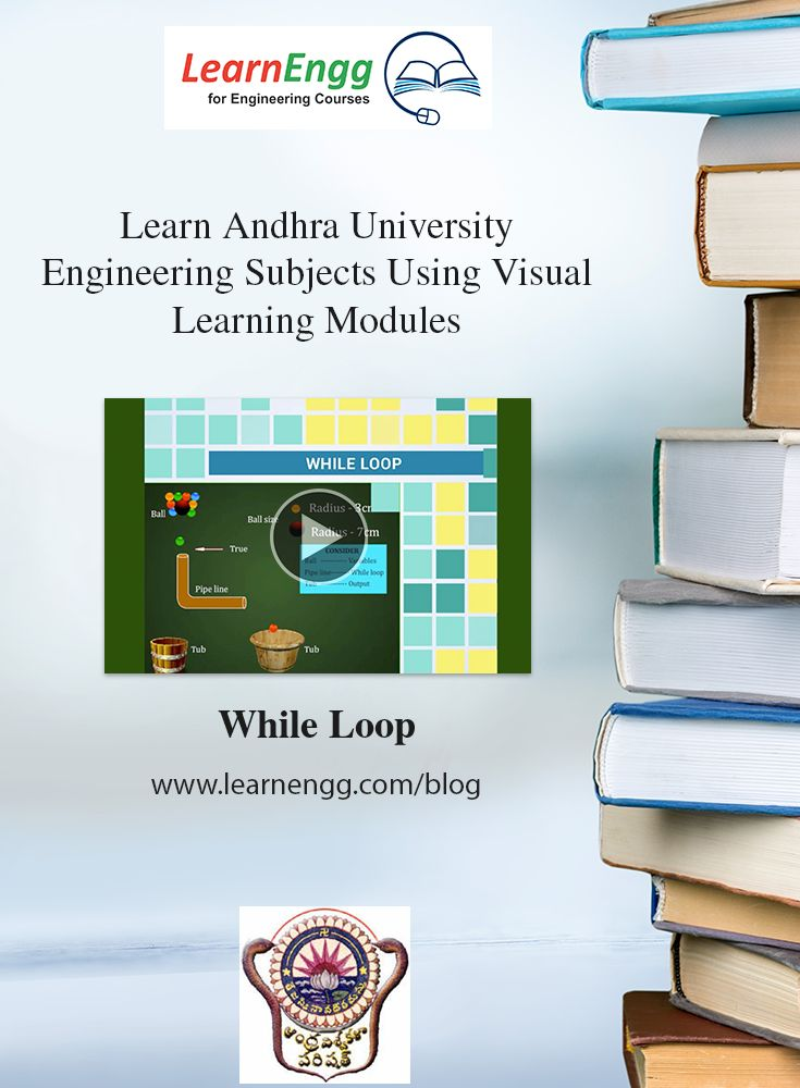 You can now visually and easily learn complex Engineering topics of Andhra University using LearnEngg visual modules.   Here is a sample video of 'While Loop'   For more visual modules, visit our website: [Click on image]   #learnengg #engineering #andhrauniversity