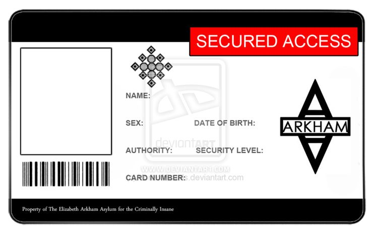Arkham Asylum ID Card - Blank by ~VortexVisuals Yes, I'm going to make myself one.