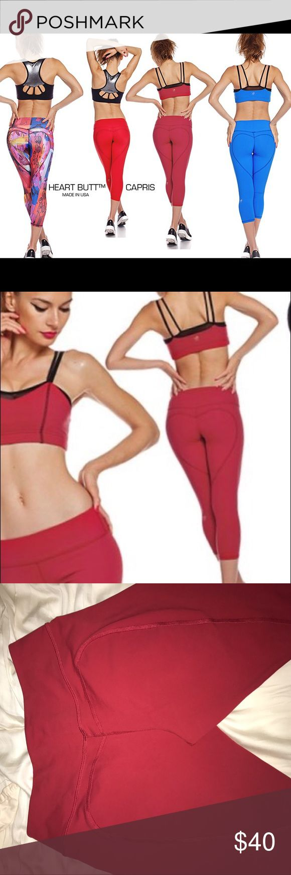 Nina b roze red leggings. Never worn Only tried on Red heart butt work out capris style #8007 never worn. Pants Capris