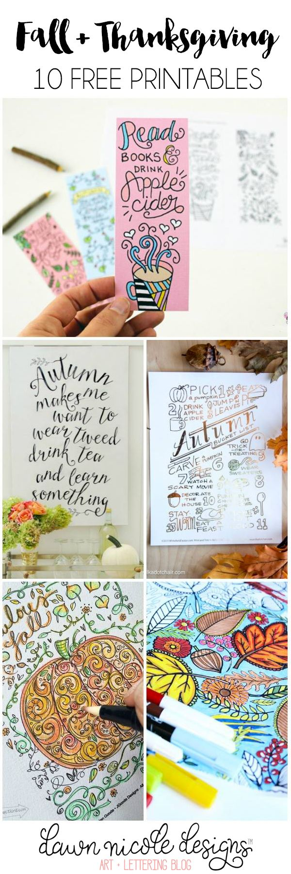 10 Free Fall & Thanksgiving Printables | bydawnnicole.com