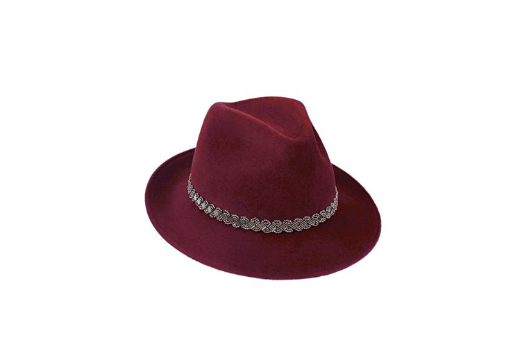 The A/W15 Collection | Amber Trilby | Burgundy | Silver Beaded Band www.penmayne.com #trilby #hats #accessories