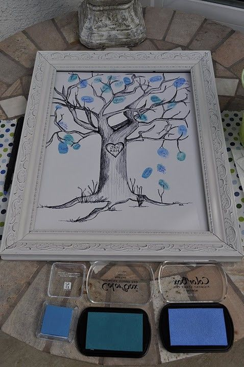 "Baby Shower Guest Tree, will do pink instead of blue and include framed instructions; please ""leaf"" a finger print and sign your name to it. Will make a sweet keepsake picture for baby's nursery."